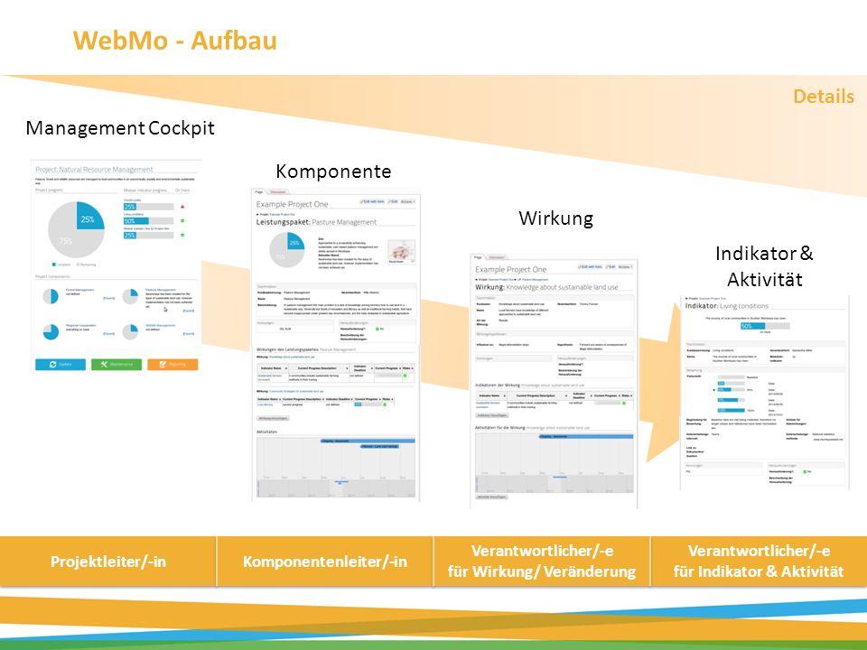 Management Cockpit Wirkung Komponente Indikator & Aktivität Details WebMo - Aufbau