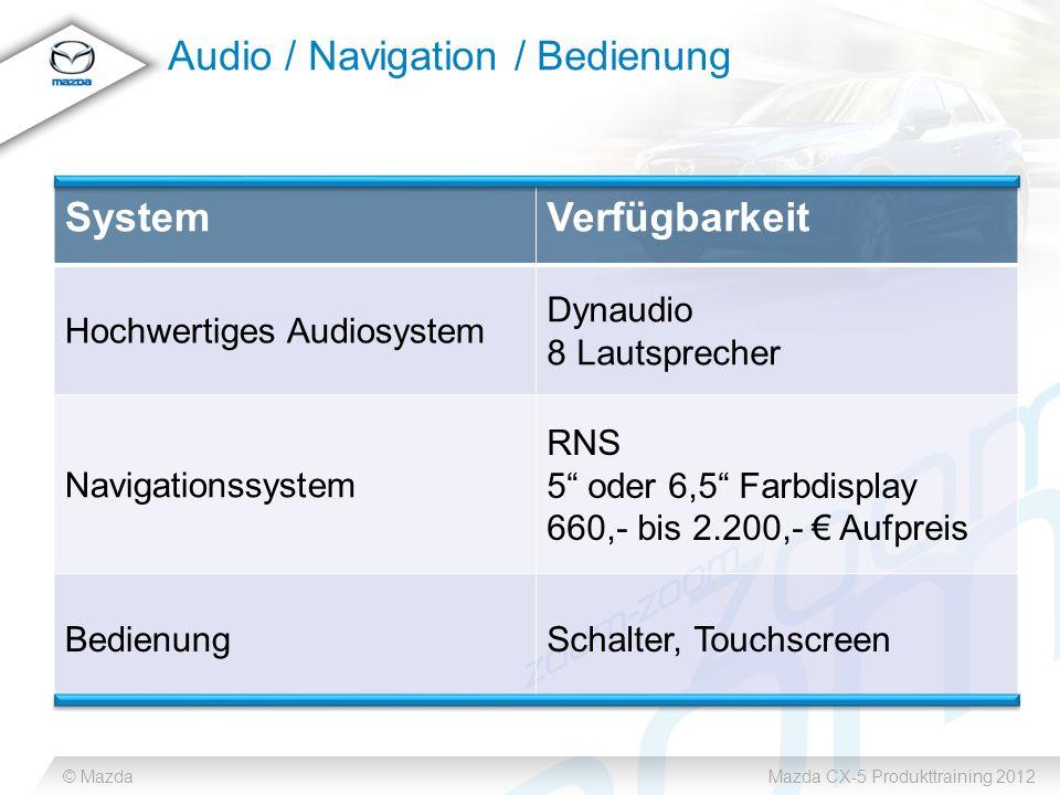 © MazdaMazda CX-5 Produkttraining 2012 Audio / Navigation / Bedienung SystemVerfügbarkeit Hochwertiges Audiosystem Dynaudio 8 Lautsprecher Navigationssystem RNS 5 oder 6,5 Farbdisplay 660,- bis 2.200,- Aufpreis BedienungSchalter, Touchscreen