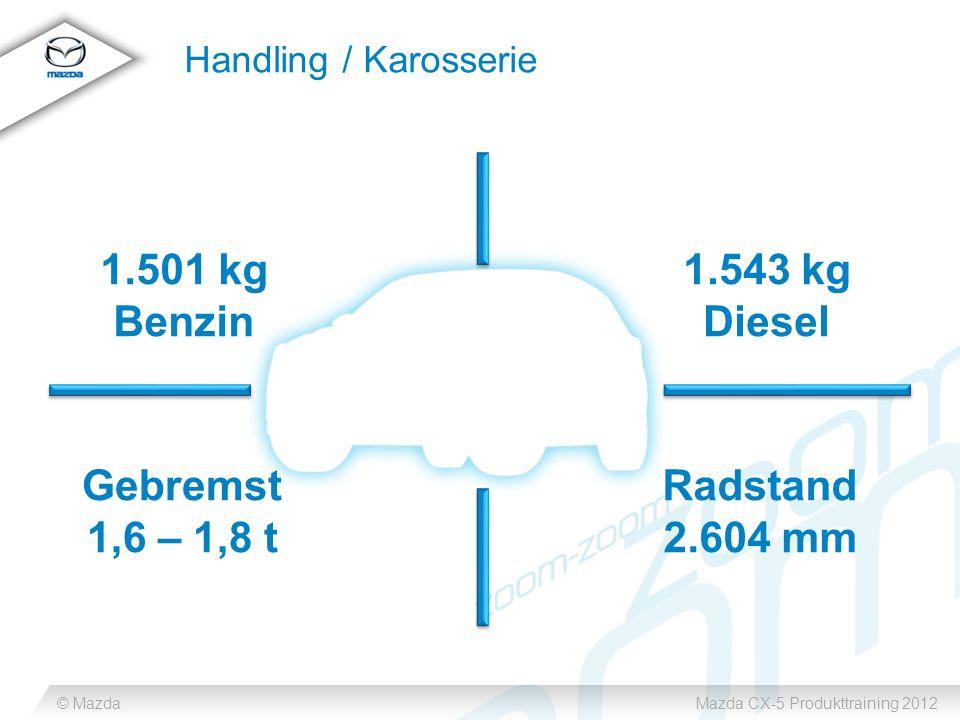 © MazdaMazda CX-5 Produkttraining 2012 Handling / Karosserie Gebremst 1,6 – 1,8 t 1.501 kg Benzin 1.543 kg Diesel Radstand 2.604 mm