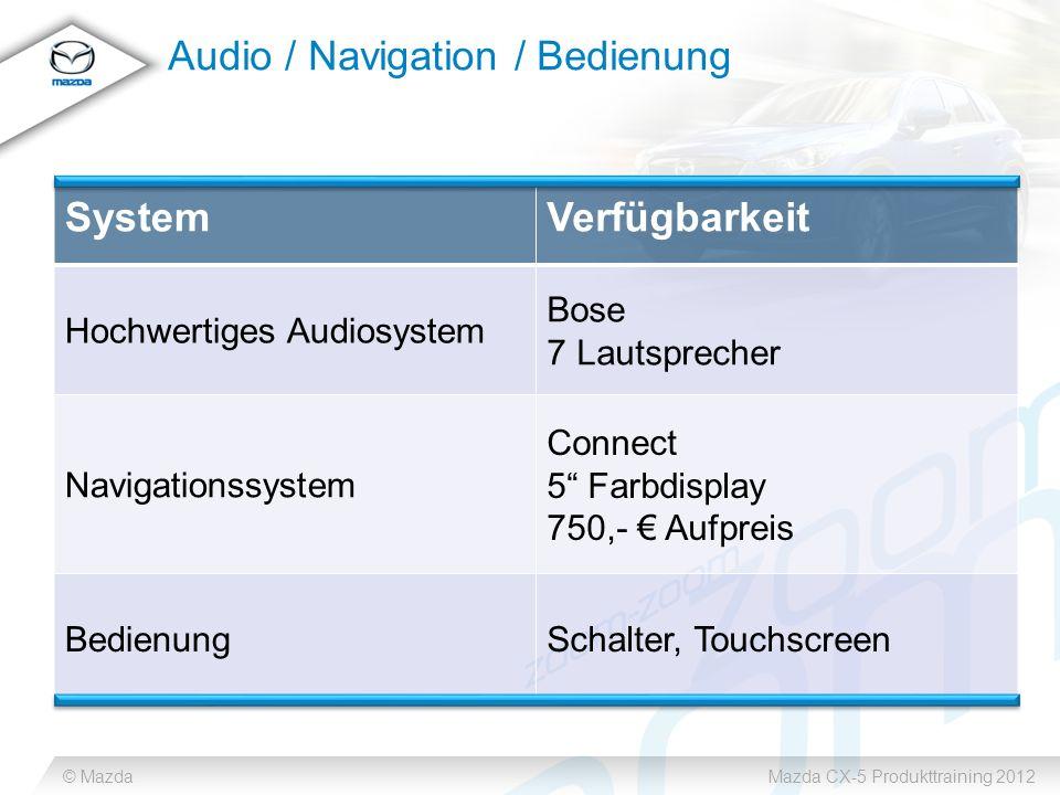 © MazdaMazda CX-5 Produkttraining 2012 Audio / Navigation / Bedienung SystemVerfügbarkeit Hochwertiges Audiosystem Bose 7 Lautsprecher Navigationssystem Connect 5 Farbdisplay 750,- Aufpreis BedienungSchalter, Touchscreen