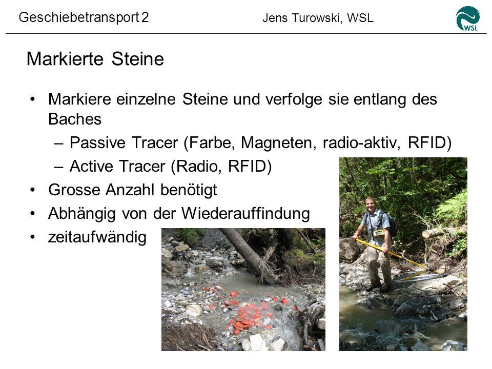 Geschiebetransport 2 Jens Turowski, WSL Markierte Steine Markiere einzelne Steine und verfolge sie entlang des Baches –Passive Tracer (Farbe, Magneten