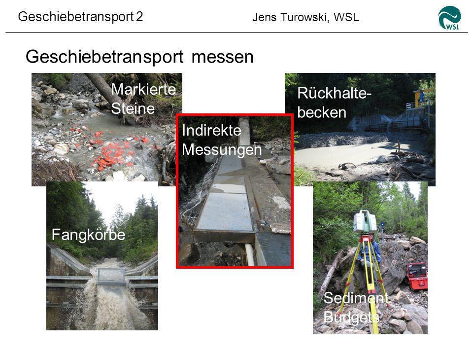 Geschiebetransport 2 Jens Turowski, WSL Geschiebetransport messen Fangkörbe Markierte Steine Rückhalte- becken Indirekte Messungen Sediment Budgets