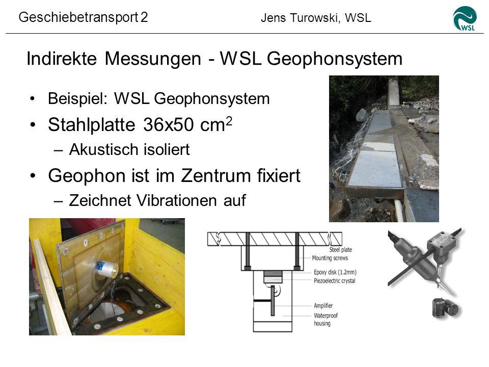 Geschiebetransport 2 Jens Turowski, WSL Indirekte Messungen - WSL Geophonsystem Beispiel: WSL Geophonsystem Stahlplatte 36x50 cm 2 –Akustisch isoliert