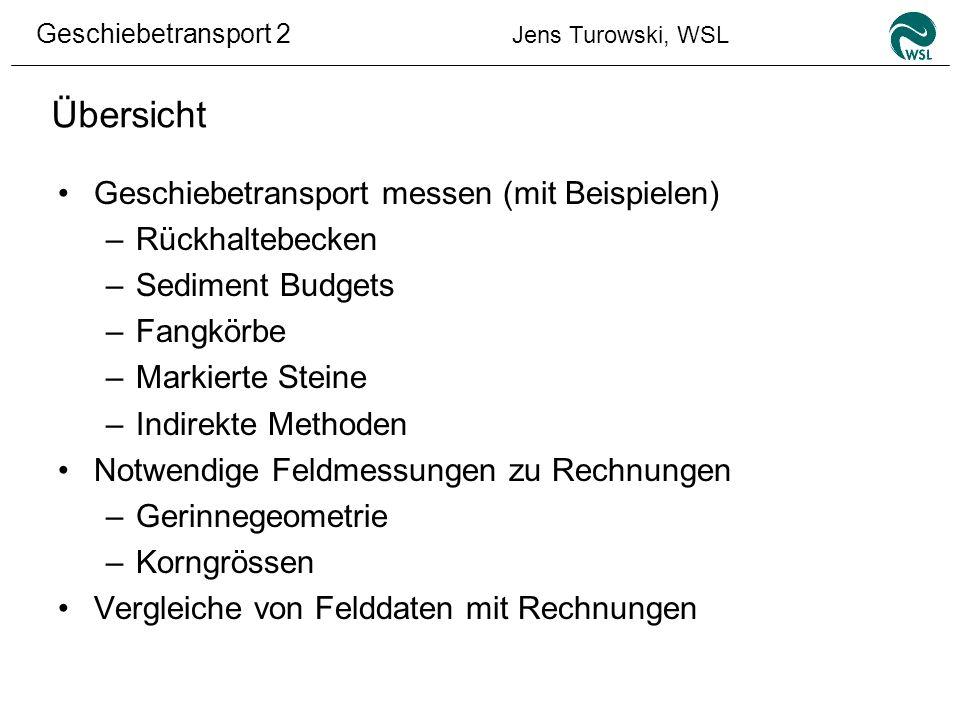 Geschiebetransport 2 Jens Turowski, WSL Messen der benötigten Kenngrössen Korngrössenverteilung –Volumenprobe mittels Siebanalyse (mindestens 150 kg; bestimmt Verteilung der Unterschicht; aufwendig aber relativ genau).