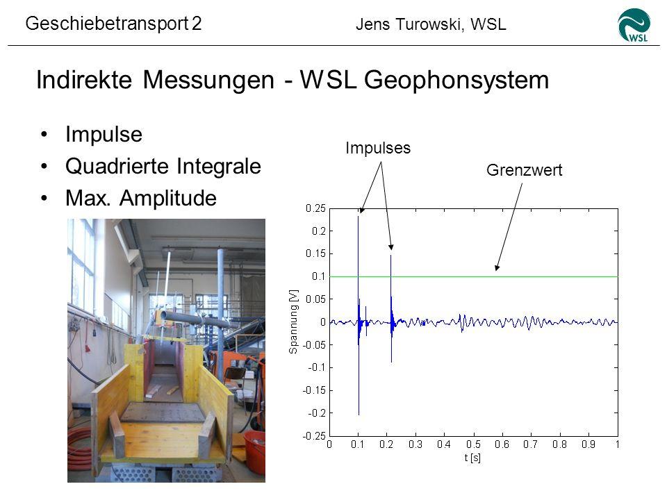 Geschiebetransport 2 Jens Turowski, WSL Indirekte Messungen - WSL Geophonsystem Impulse Quadrierte Integrale Max. Amplitude Impulses Grenzwert