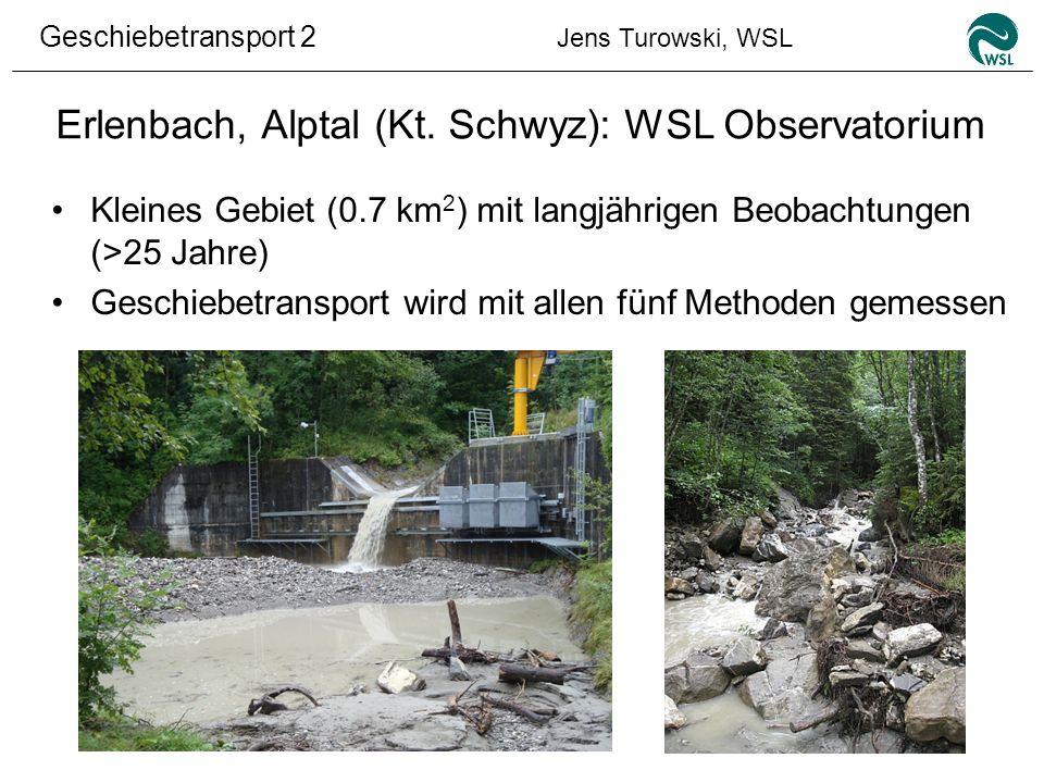 Geschiebetransport 2 Jens Turowski, WSL Erlenbach, Alptal (Kt. Schwyz): WSL Observatorium Kleines Gebiet (0.7 km 2 ) mit langjährigen Beobachtungen (>