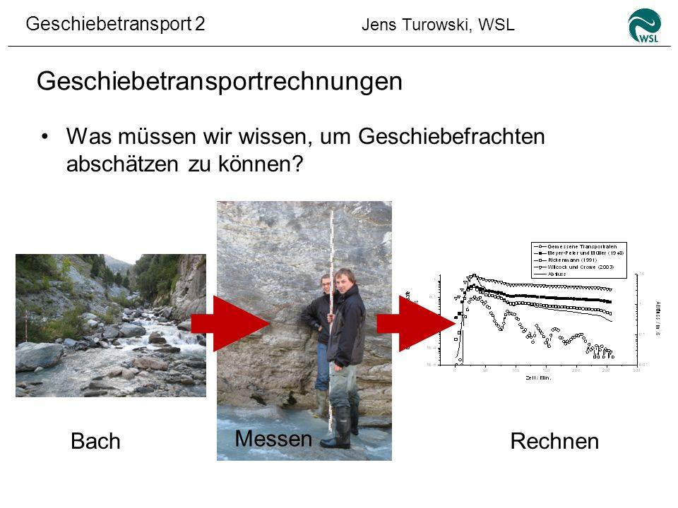 Geschiebetransport 2 Jens Turowski, WSL Geschiebetransportrechnungen Was müssen wir wissen, um Geschiebefrachten abschätzen zu können? Bach Messen Rec
