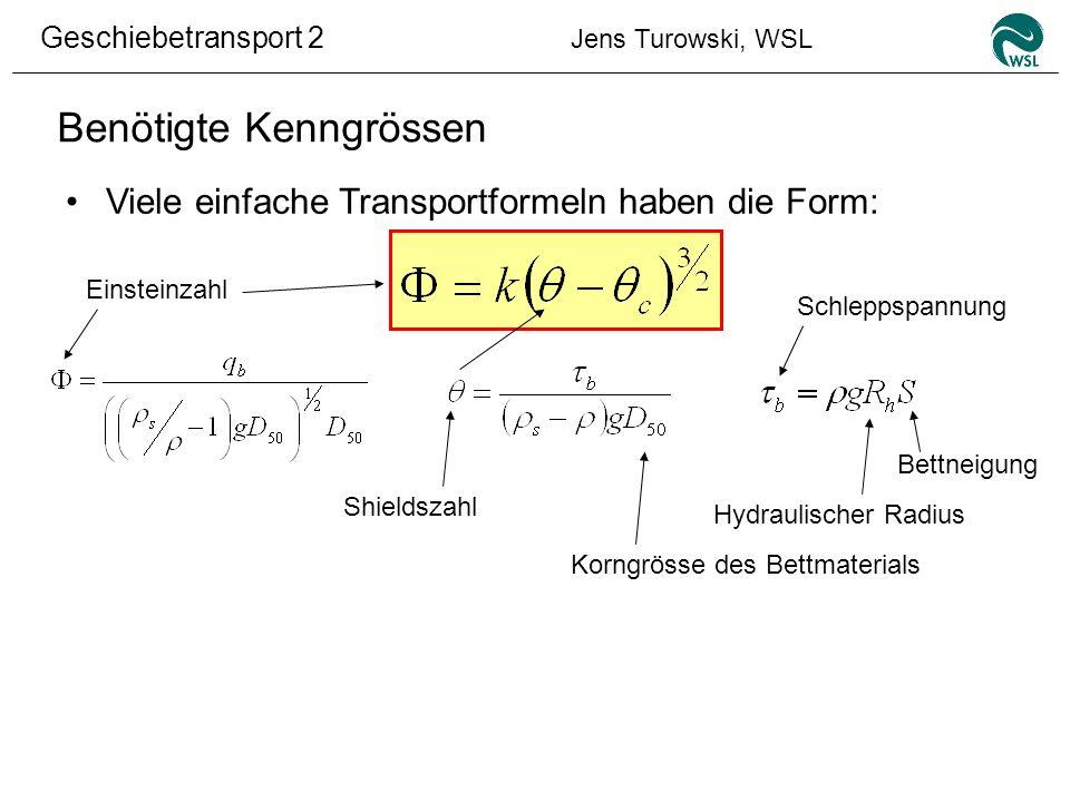 Geschiebetransport 2 Jens Turowski, WSL Benötigte Kenngrössen Viele einfache Transportformeln haben die Form: Shieldszahl Einsteinzahl Schleppspannung