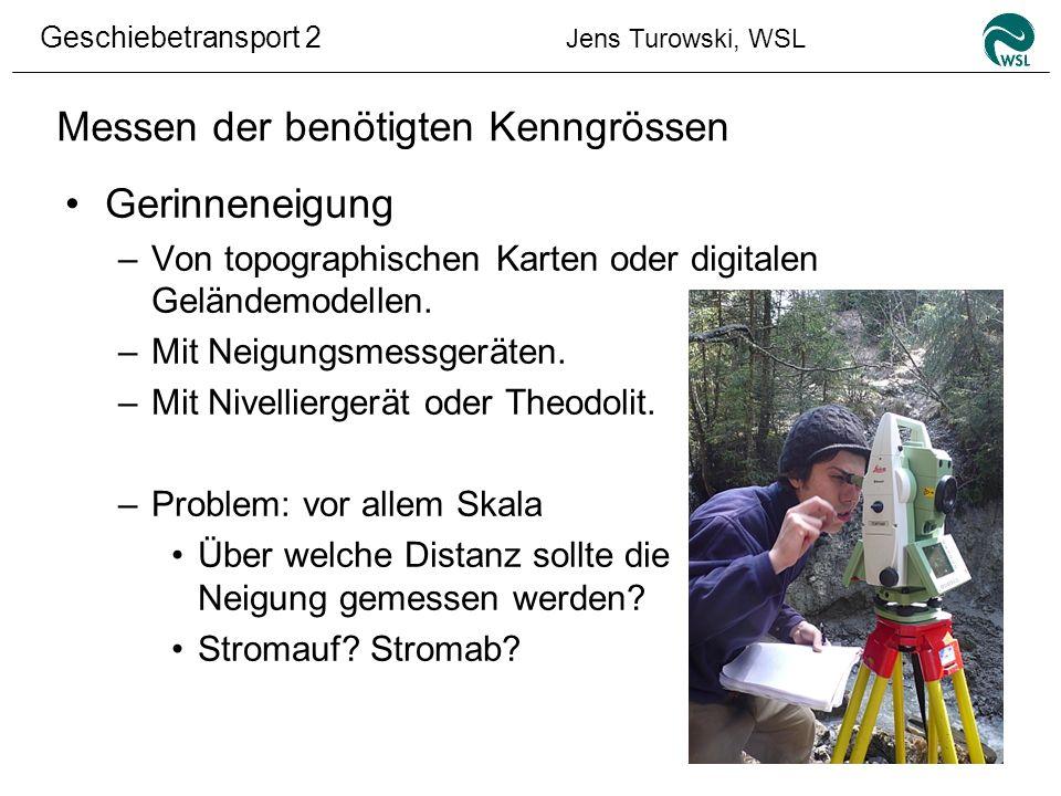 Geschiebetransport 2 Jens Turowski, WSL Messen der benötigten Kenngrössen Gerinneneigung –Von topographischen Karten oder digitalen Geländemodellen. –