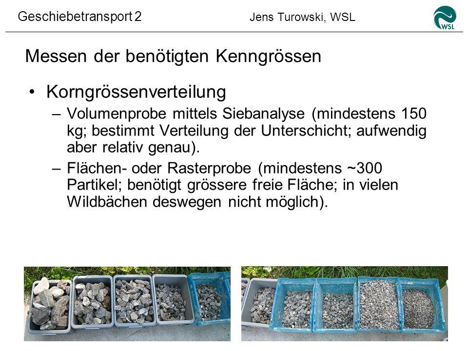 Geschiebetransport 2 Jens Turowski, WSL Messen der benötigten Kenngrössen Korngrössenverteilung –Volumenprobe mittels Siebanalyse (mindestens 150 kg;
