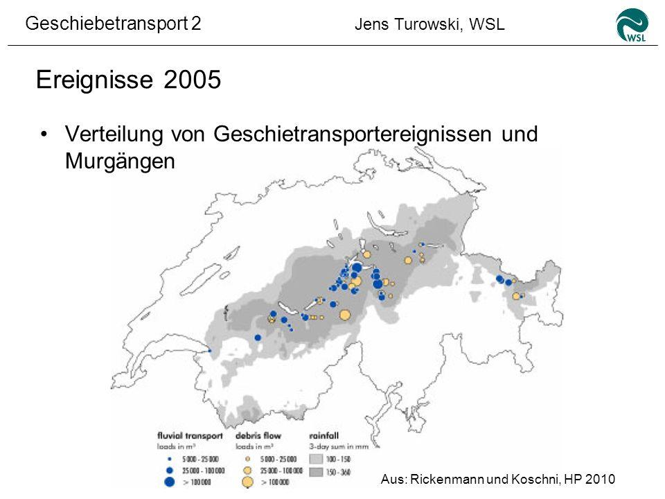 Geschiebetransport 2 Jens Turowski, WSL Ereignisse 2005 Verteilung von Geschietransportereignissen und Murgängen Aus: Rickenmann und Koschni, HP 2010