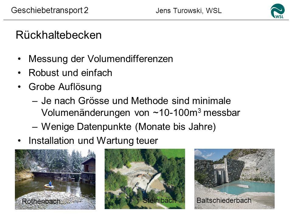 Geschiebetransport 2 Jens Turowski, WSL Rückhaltebecken Beispiel: Abstechen eines Sammlers Rothenbach