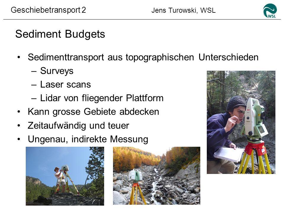 Geschiebetransport 2 Jens Turowski, WSL Sediment Budgets Sedimenttransport aus topographischen Unterschieden –Surveys –Laser scans –Lidar von fliegend