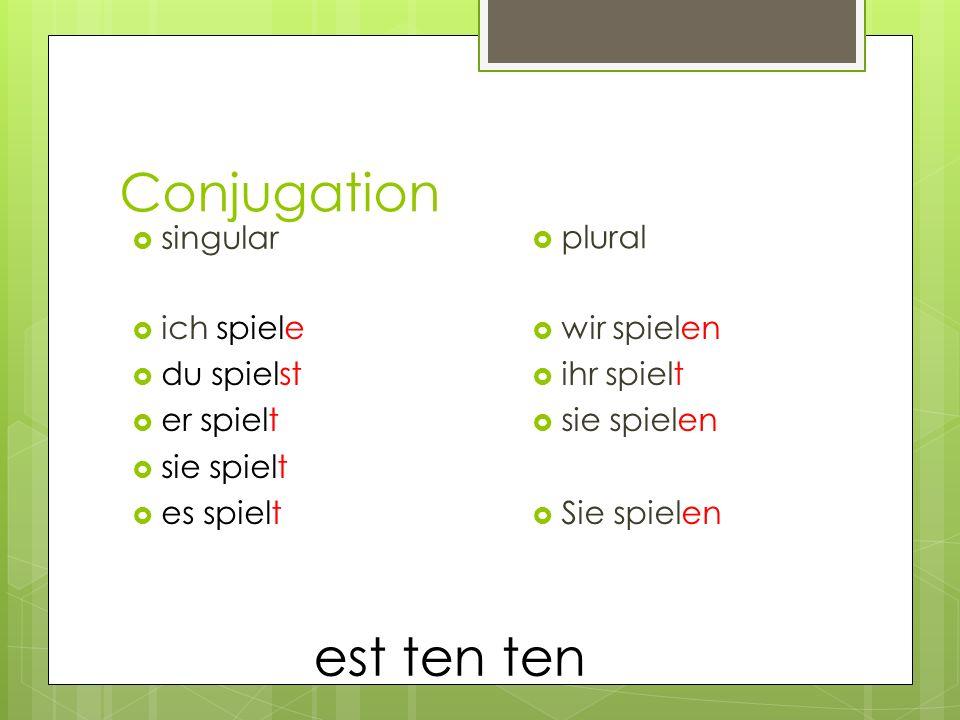 Conjugation ich spiele du spielst er spielt sie spielt es spielt singular plural wir spielen ihr spielt sie spielen Sie spielen est ten ten