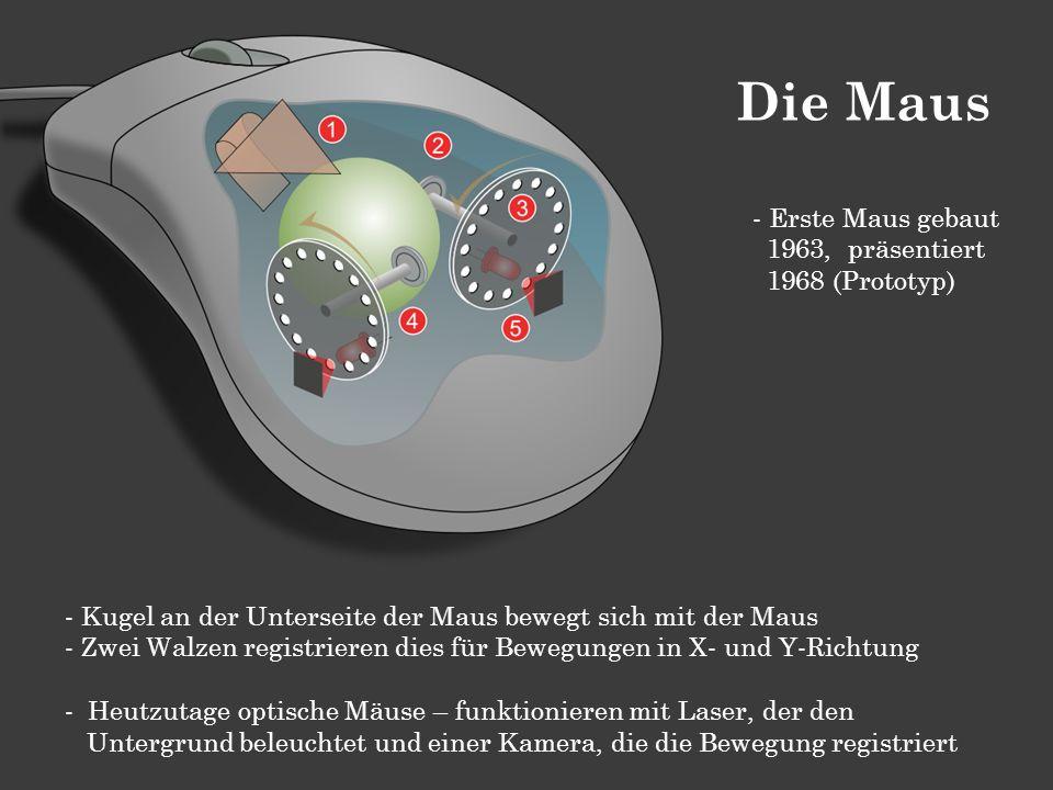 - Kugel an der Unterseite der Maus bewegt sich mit der Maus - Zwei Walzen registrieren dies für Bewegungen in X- und Y-Richtung - Heutzutage optische