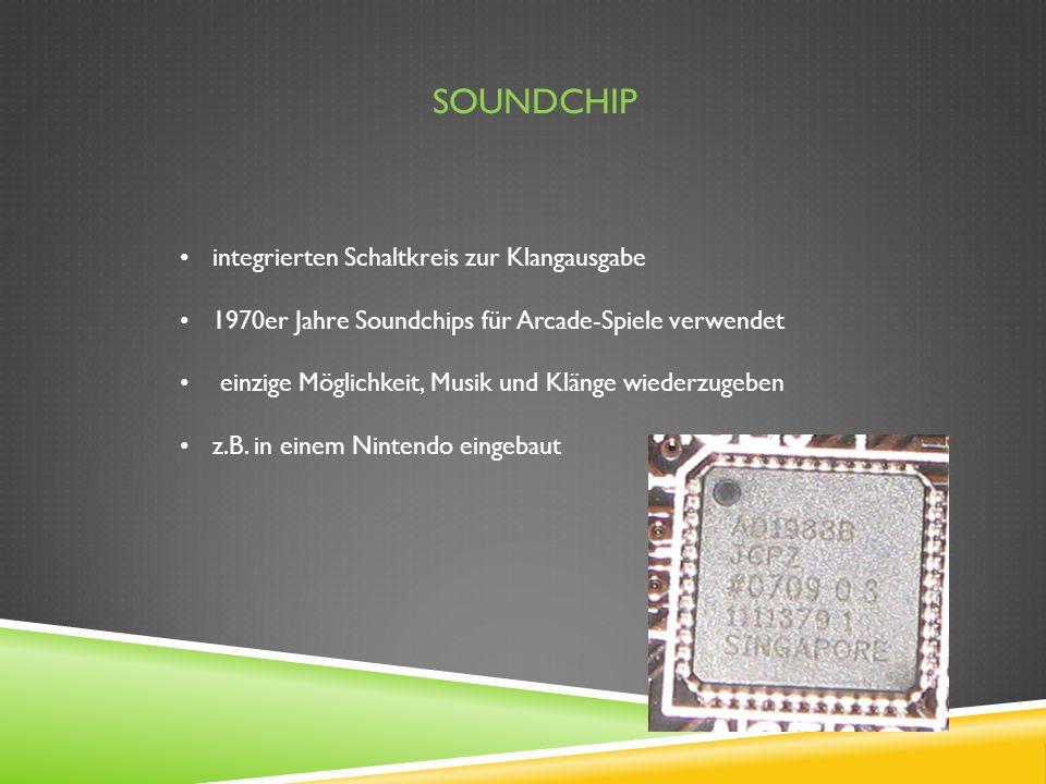 SOUNDCHIP integrierten Schaltkreis zur Klangausgabe 1970er Jahre Soundchips für Arcade-Spiele verwendet einzige Möglichkeit, Musik und Klänge wiederzu