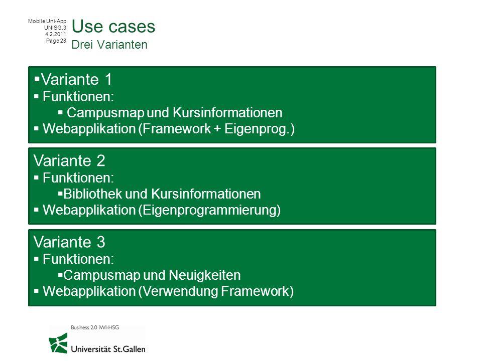 Mobile Uni-App UNISG.3 4.2.2011 Page 28 Use cases Drei Varianten Variante 1 Funktionen: Campusmap und Kursinformationen Webapplikation (Framework + Ei