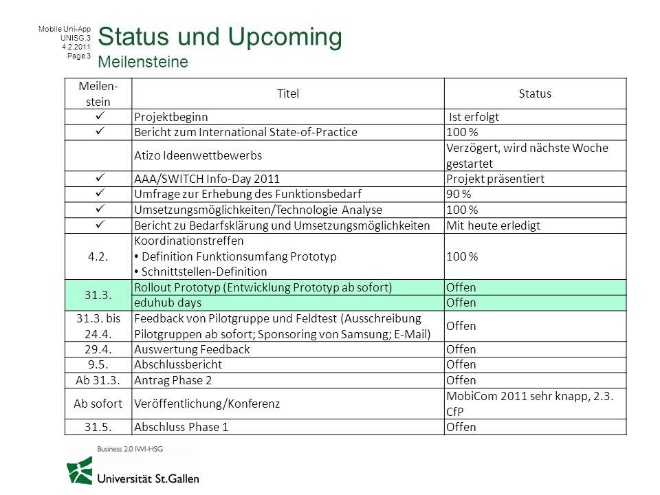 Mobile Uni-App UNISG.3 4.2.2011 Page 3 Status und Upcoming Meilensteine Meilen- stein TitelStatus Projektbeginn Ist erfolgt Bericht zum International