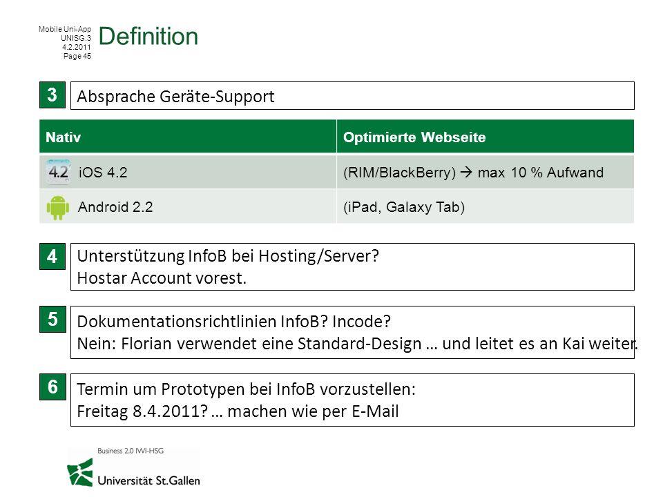 Mobile Uni-App UNISG.3 4.2.2011 Page 45 Definition 3 4 Absprache Geräte-Support Unterstützung InfoB bei Hosting/Server? Hostar Account vorest. 5 Dokum