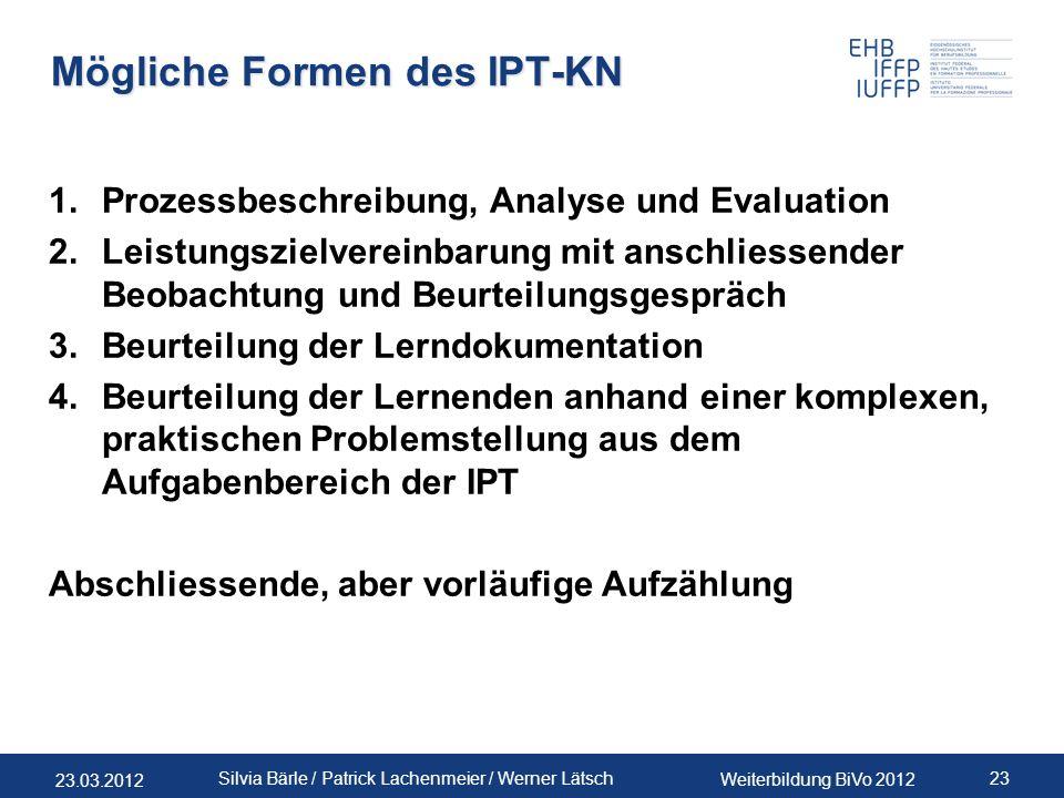 23.03.2012 Weiterbildung BiVo 2012 23 Silvia Bärle / Patrick Lachenmeier / Werner Lätsch Mögliche Formen des IPT-KN 1.Prozessbeschreibung, Analyse und