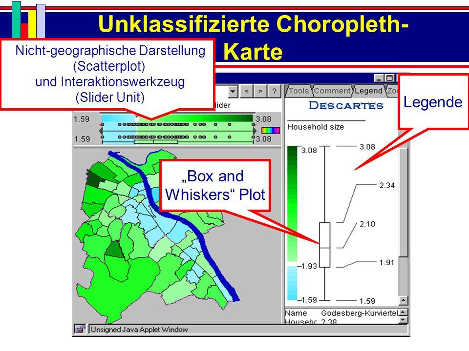 Unklassifizierte Choropleth- Karte Box and Whiskers Plot Legende Nicht-geographische Darstellung (Scatterplot) und Interaktionswerkzeug (Slider Unit)