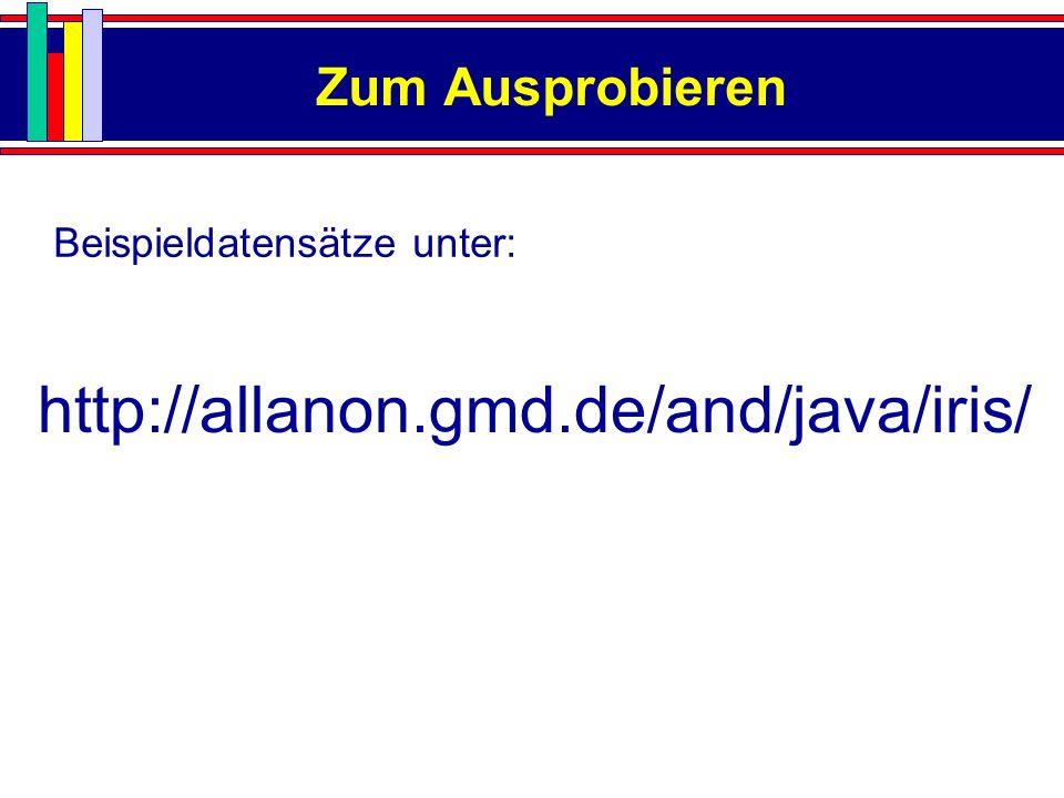 Zum Ausprobieren http://allanon.gmd.de/and/java/iris/ Beispieldatensätze unter: