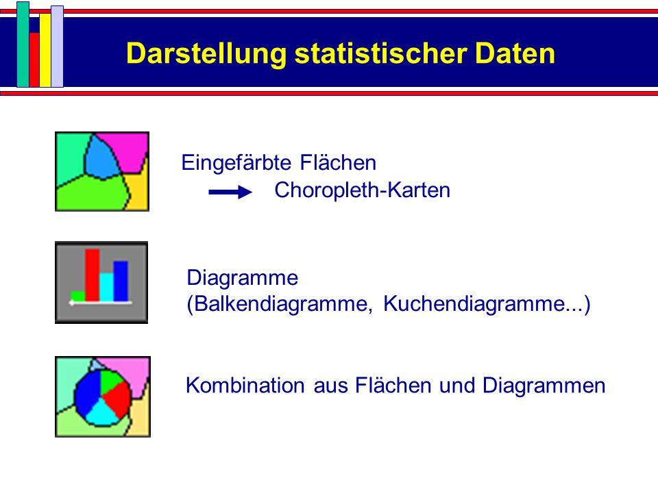 Darstellung statistischer Daten Eingefärbte Flächen Choropleth-Karten Diagramme (Balkendiagramme, Kuchendiagramme...) Kombination aus Flächen und Diag