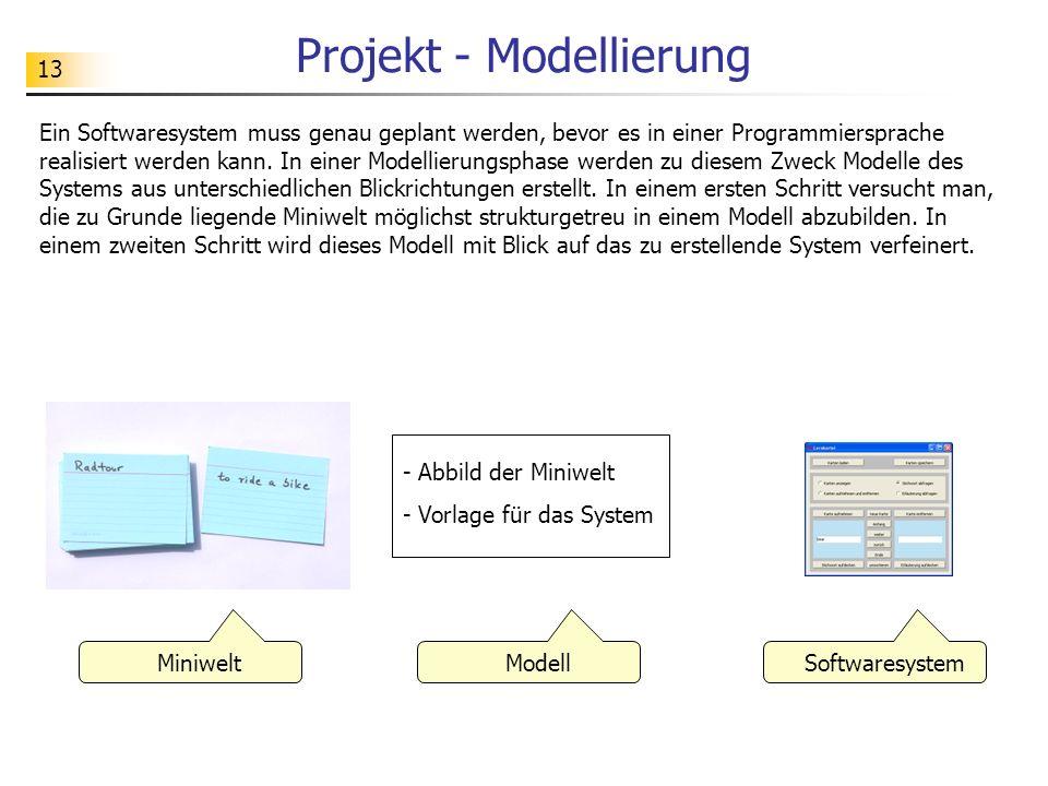 13 Projekt - Modellierung Ein Softwaresystem muss genau geplant werden, bevor es in einer Programmiersprache realisiert werden kann. In einer Modellie