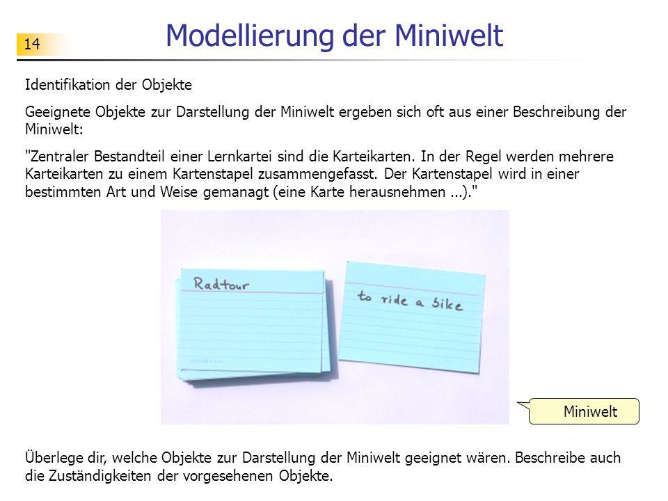 14 Modellierung der Miniwelt Identifikation der Objekte Geeignete Objekte zur Darstellung der Miniwelt ergeben sich oft aus einer Beschreibung der Min