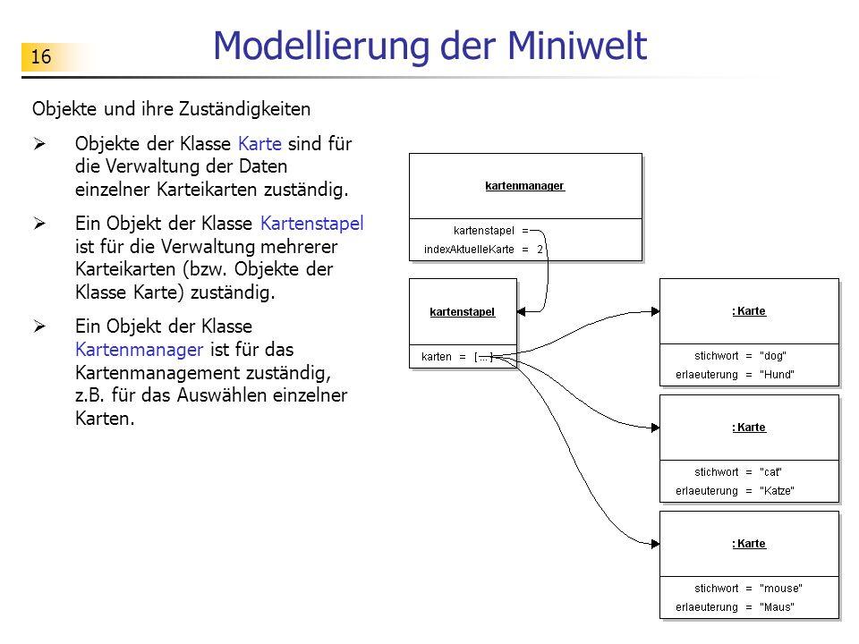 16 Modellierung der Miniwelt Objekte und ihre Zuständigkeiten Objekte der Klasse Karte sind für die Verwaltung der Daten einzelner Karteikarten zustän