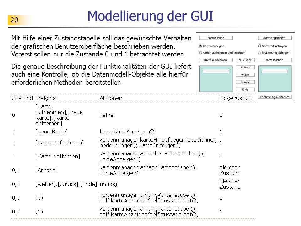 20 Modellierung der GUI Mit Hilfe einer Zustandstabelle soll das gewünschte Verhalten der grafischen Benutzeroberfläche beschrieben werden. Vorerst so
