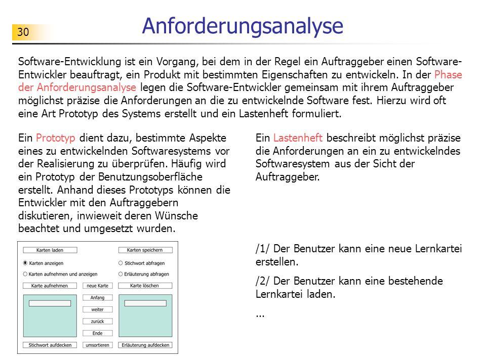 31 Modellierung MiniweltModell Softwaresystem - Abbild der Miniwelt - Vorlage für das System Ein Softwaresystem muss genau geplant werden, bevor es in einer Programmiersprache realisiert werden kann.