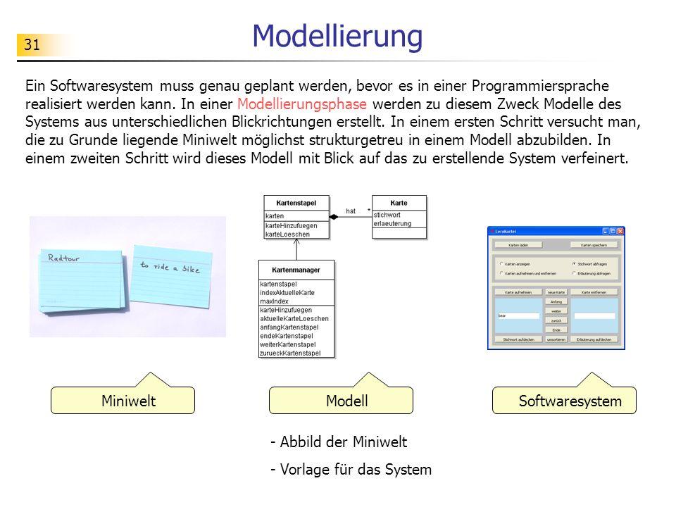 31 Modellierung MiniweltModell Softwaresystem - Abbild der Miniwelt - Vorlage für das System Ein Softwaresystem muss genau geplant werden, bevor es in