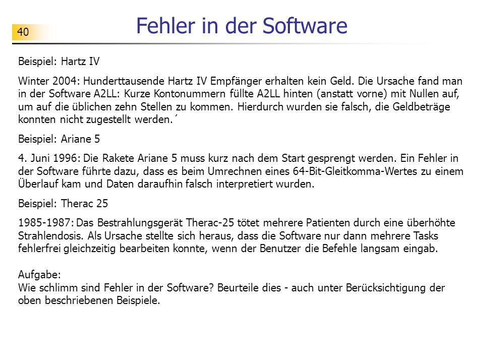 40 Fehler in der Software Beispiel: Hartz IV Winter 2004: Hunderttausende Hartz IV Empfänger erhalten kein Geld. Die Ursache fand man in der Software