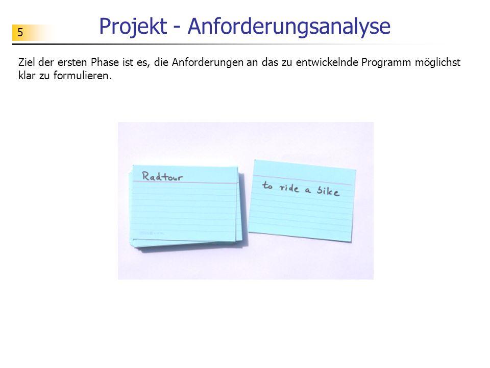 6 Projekt - Anforderungsanalyse Gruppe A: AuftraggeberGruppe B: Software-Entwickler Schritt 1: Die Mitglieder der beiden Teilgruppen verständigen sich grob über die Funktionalitäten des zu entwickelnden Programms.