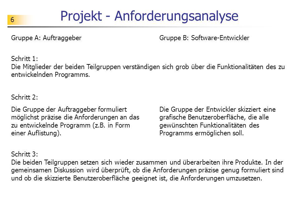 6 Projekt - Anforderungsanalyse Gruppe A: AuftraggeberGruppe B: Software-Entwickler Schritt 1: Die Mitglieder der beiden Teilgruppen verständigen sich