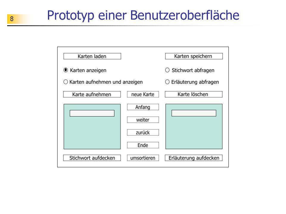 8 Prototyp einer Benutzeroberfläche