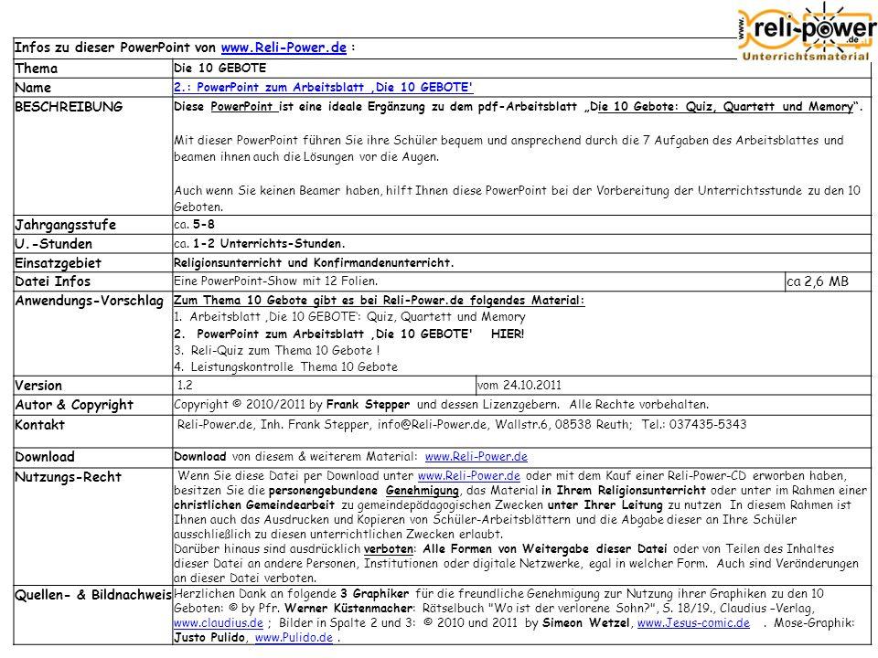 Infos zu dieser PowerPoint von www.Reli-Power.de :www.Reli-Power.de Thema Die 10 GEBOTE Name 2.: PowerPoint zum Arbeitsblatt Die 10 GEBOTE BESCHREIBUNG Diese PowerPoint ist eine ideale Ergänzung zu dem pdf-Arbeitsblatt Die 10 Gebote: Quiz, Quartett und Memory.