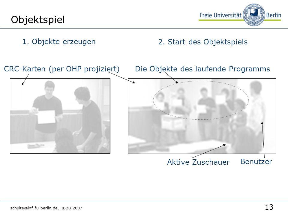 13 schulte@inf.fu-berlin.de, IBBB 2007 Objektspiel 1. Objekte erzeugen CRC-Karten (per OHP projiziert)Die Objekte des laufende Programms Benutzer Akti