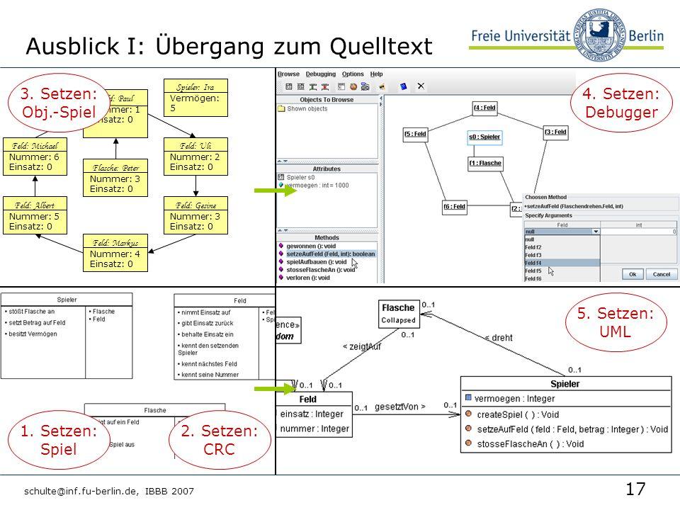 17 schulte@inf.fu-berlin.de, IBBB 2007 Ausblick I: Übergang zum Quelltext Feld: Gesine Nummer: 3 Einsatz: 0 Feld: Albert Nummer: 5 Einsatz: 0 Feld: Mi
