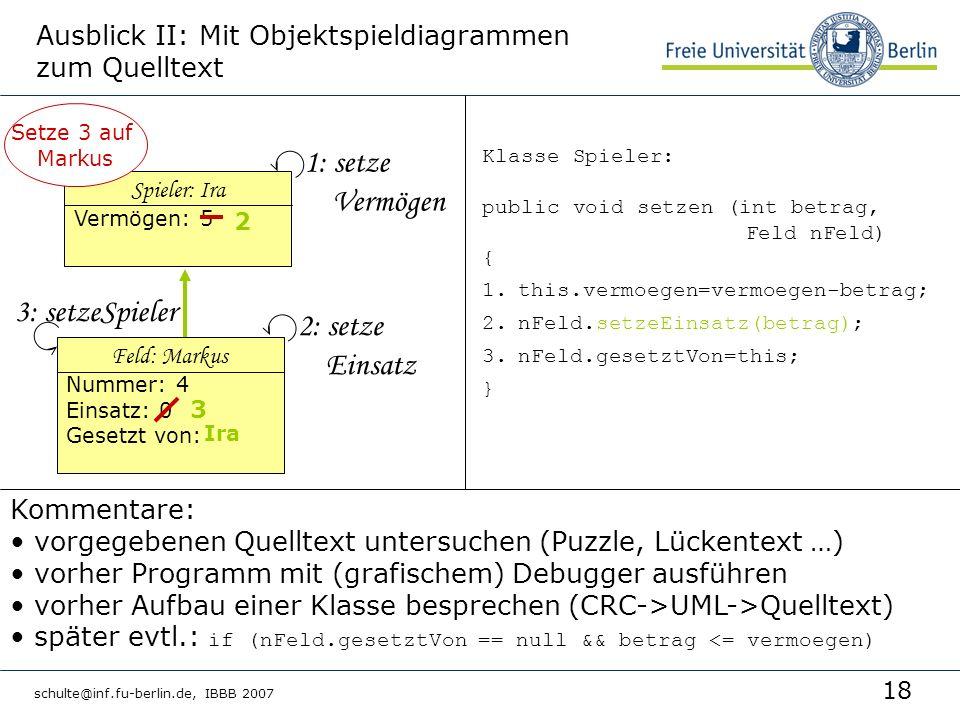 18 schulte@inf.fu-berlin.de, IBBB 2007 Ausblick II: Mit Objektspieldiagrammen zum Quelltext 1: setze Vermögen 2: setze Einsatz Klasse Spieler: public void setzen (int betrag, Feld nFeld) { 1.this.vermoegen=vermoegen-betrag; 2.nFeld.setzeEinsatz(betrag); 3.nFeld.gesetztVon=this; } Kommentare: vorgegebenen Quelltext untersuchen (Puzzle, Lückentext …) vorher Programm mit (grafischem) Debugger ausführen vorher Aufbau einer Klasse besprechen (CRC->UML->Quelltext) später evtl.: if (nFeld.gesetztVon == null && betrag <= vermoegen) Spieler: Ira Vermögen: 5 Setze 3 auf Markus 2 Feld: Markus Nummer: 4 Einsatz: 0 Gesetzt von: 3 Ira 3: setzeSpieler