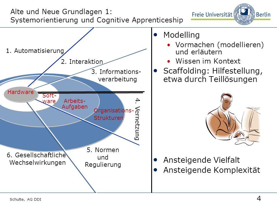 4 Schulte, AG DDI Alte und Neue Grundlagen 1: Systemorientierung und Cognitive Apprenticeship Modelling Vormachen (modellieren) und erläutern Wissen im Kontext Scaffolding: Hilfestellung, etwa durch Teillösungen Ansteigende Vielfalt Ansteigende Komplexität Arbeits- Aufgaben 1.