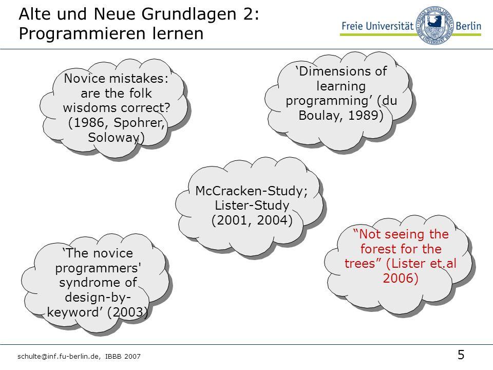 5 schulte@inf.fu-berlin.de, IBBB 2007 Alte und Neue Grundlagen 2: Programmieren lernen Novice mistakes: are the folk wisdoms correct? (1986, Spohrer,