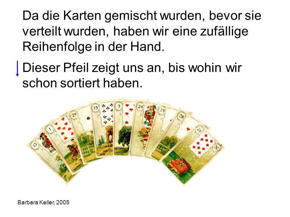 Barbara Keller, 2005 Da die Karten gemischt wurden, bevor sie verteilt wurden, haben wir eine zufällige Reihenfolge in der Hand. Dieser Pfeil zeigt un