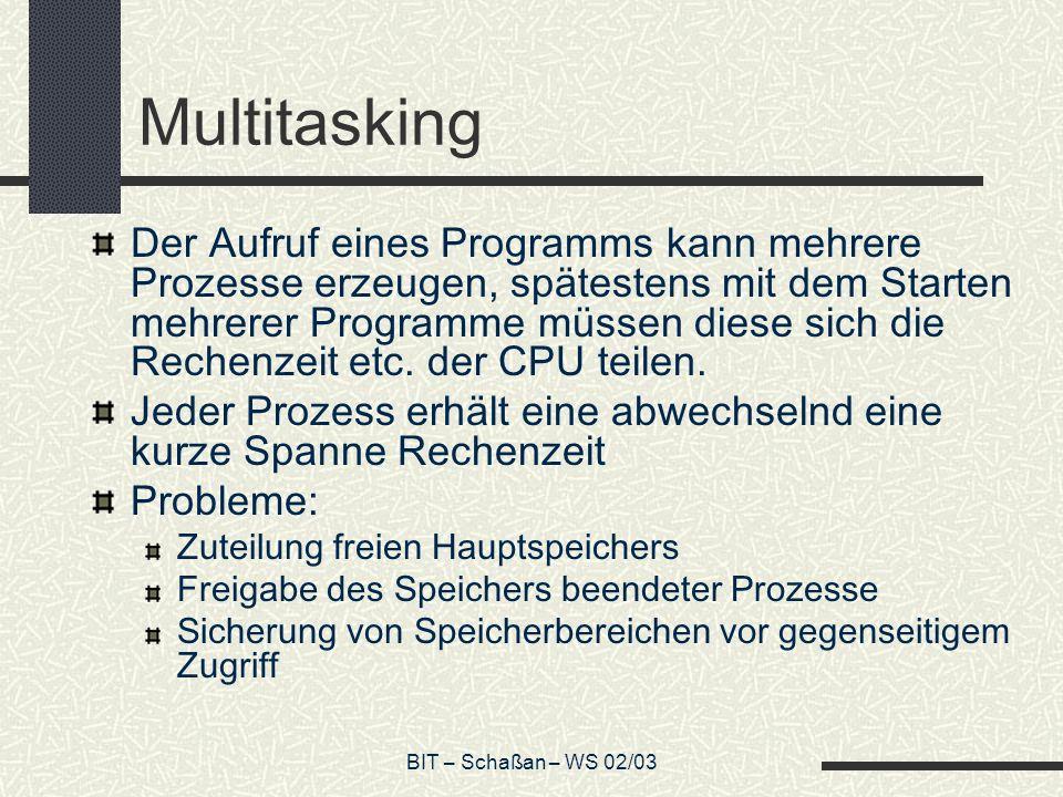 BIT – Schaßan – WS 02/03 Multitasking Der Aufruf eines Programms kann mehrere Prozesse erzeugen, spätestens mit dem Starten mehrerer Programme müssen diese sich die Rechenzeit etc.