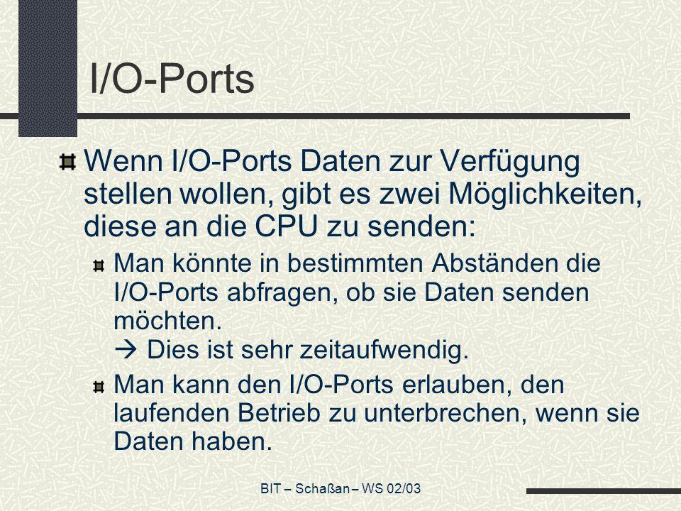 BIT – Schaßan – WS 02/03 I/O-Ports Wenn I/O-Ports Daten zur Verfügung stellen wollen, gibt es zwei Möglichkeiten, diese an die CPU zu senden: Man könnte in bestimmten Abständen die I/O-Ports abfragen, ob sie Daten senden möchten.