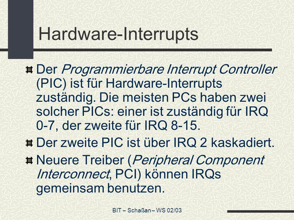 BIT – Schaßan – WS 02/03 Hardware-Interrupts Der Programmierbare Interrupt Controller (PIC) ist für Hardware-Interrupts zuständig.