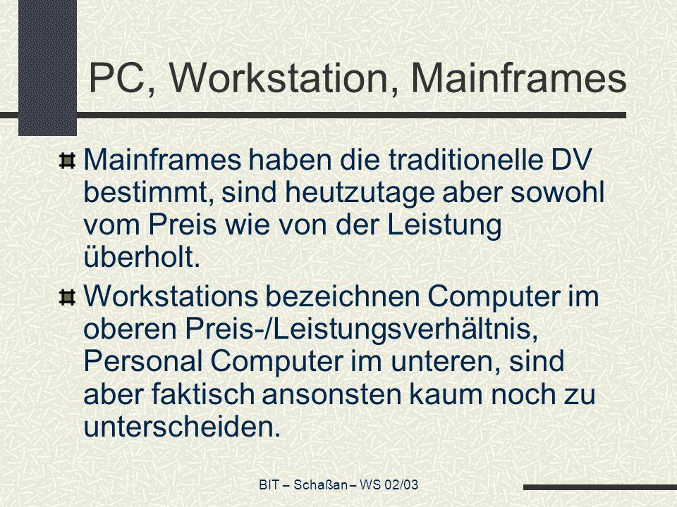 BIT – Schaßan – WS 02/03 Aufgaben des Betriebssystems Ressourcenverwaltung: CPU (Rechenzeit) Hauptspeicher Festplattenspeicherplatz externe Geräte Zentrale Bestandteile des Betriebssystems: Prozessverwaltung Speicherverwaltung Dateiverwaltung
