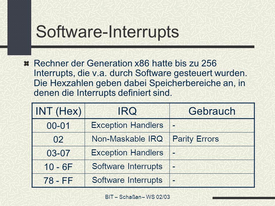 BIT – Schaßan – WS 02/03 Software-Interrupts Rechner der Generation x86 hatte bis zu 256 Interrupts, die v.a.