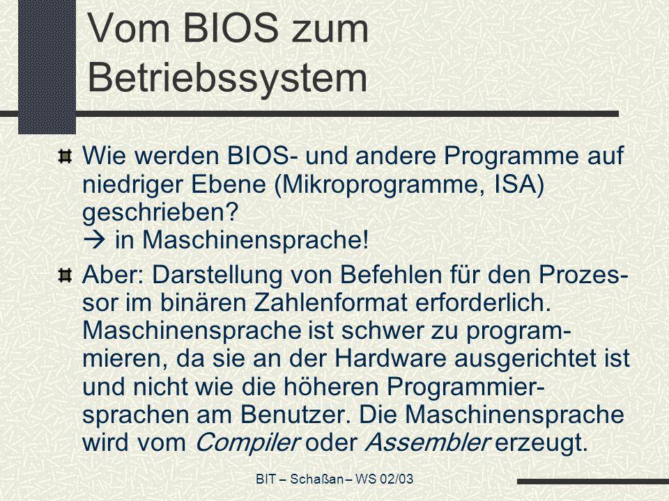 BIT – Schaßan – WS 02/03 Vom BIOS zum Betriebssystem Wie werden BIOS- und andere Programme auf niedriger Ebene (Mikroprogramme, ISA) geschrieben.